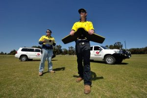 Surveyors in Geraldton performing aerial surveys with UAV