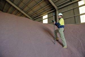Surveyor Daniel Welsh in Geraldton doing a volume survey for a mining company